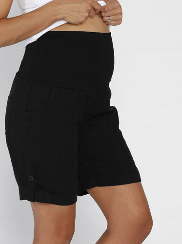 Linen Maternity Shorts in Navy