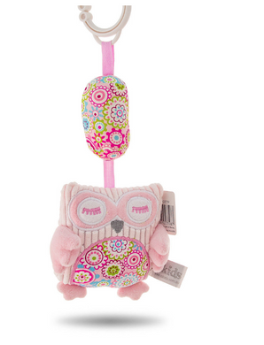Hanging Owl Chime Toy - Grey, Pink or Blue
