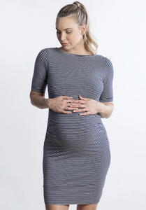 Luella Maternity & Nursing Dress in Navy Stripe