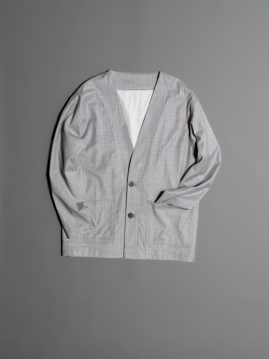 Striped Loose Fit Woven Cardigan - Light Grey