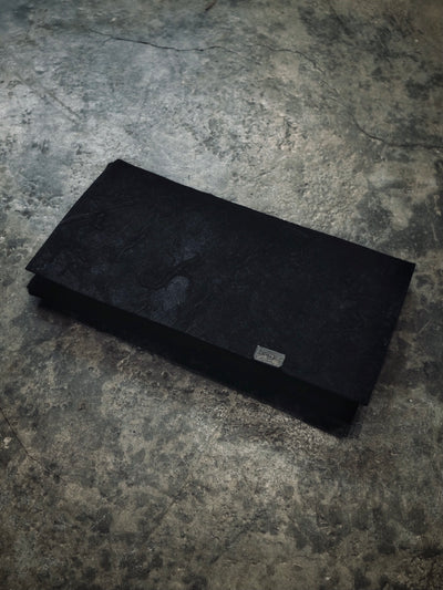 Washi Leather Long Wallet - Black