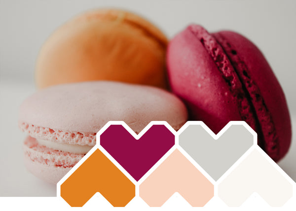 colour inspiration sweet treats orange, raspberry and peach macaron