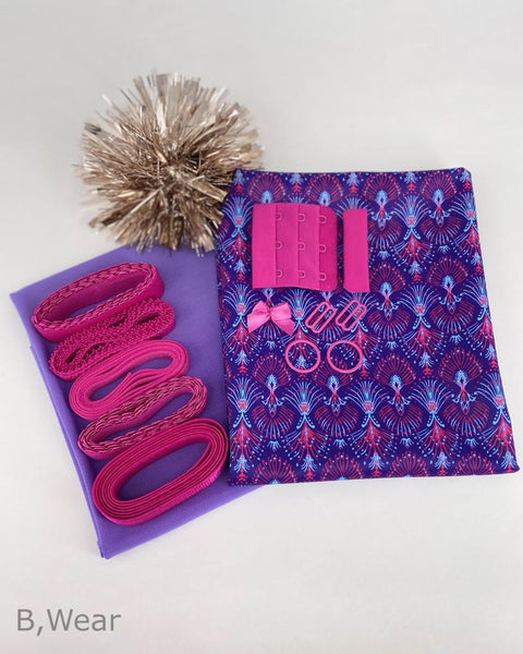 bra making kit in purple and pink