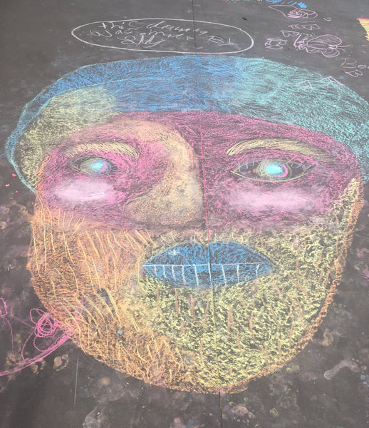 chalk drawing of a face
