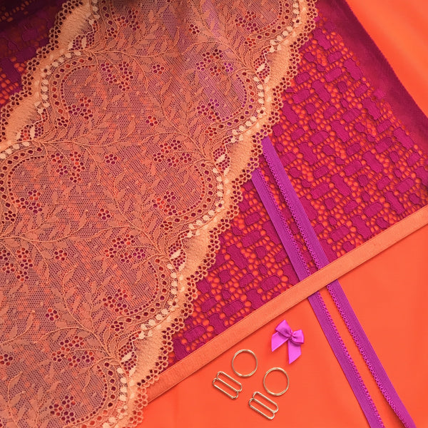 bra fabric orange duoplex raspberry lace and elastics