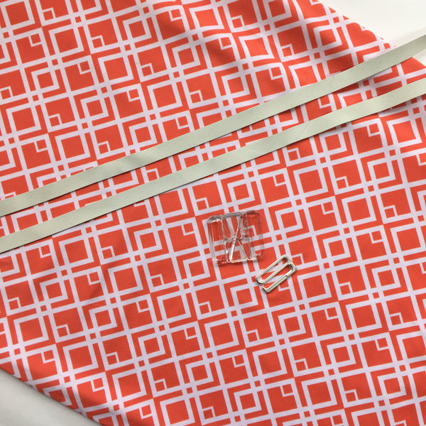 swimwear fabric nylon lycra orange and white geometric