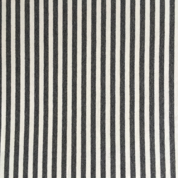 Cotton lycra ~ Charcoal and white stripe