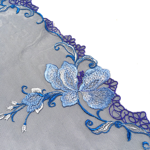 Embroidered Tulle ~ Blue Blossom