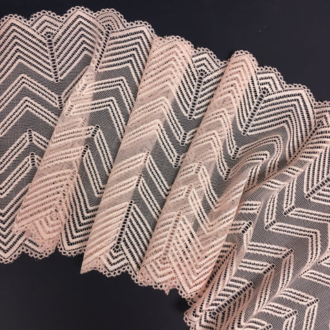 Stretch Lace ~ Chevron Peach