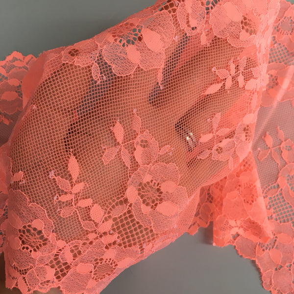 Stretch Lace ~ Neon Coral
