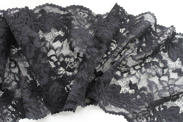 Stretch Lace ~ Black Floral