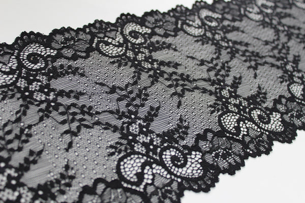 stretch lace black with light floral pattern
