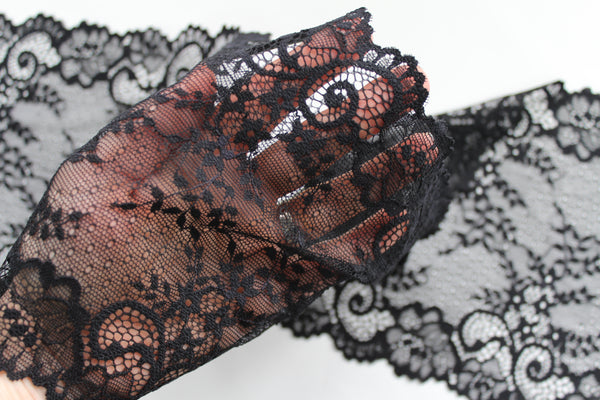 Stretch Lace ~ Black Light Floral