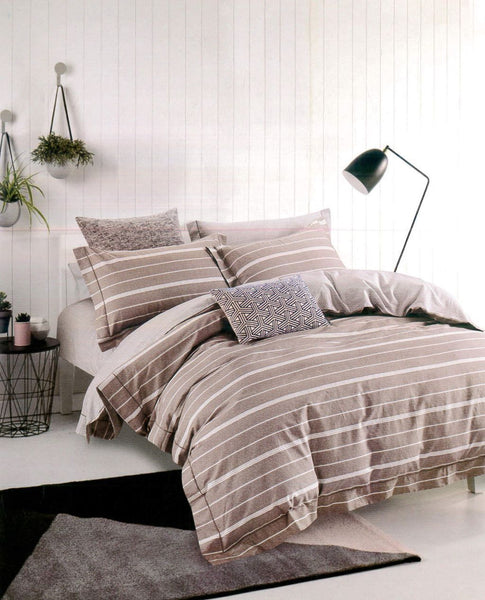 Malako Adore 100% Cotton Light Brown Stripes Bedding Set