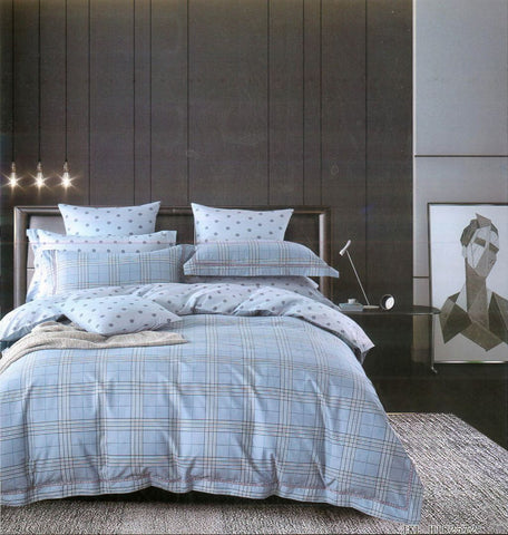 Malako Adore 100% Cotton Light Blue Checks Bedding Set