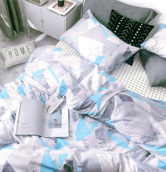 Malako Adore 100% Cotton Aqua Geometrical 6 Piece Bedding Set
