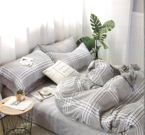 Malako Adore 100% Cotton Lunar Grey Checks Bedding Set