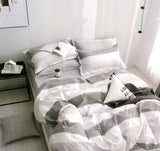 Malako Adore 100% Cotton White & Black Stripes Bedding Set