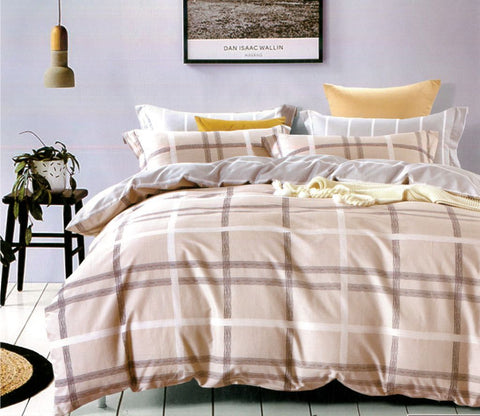 Malako Adore 100% Cotton Light Brown Checks Bedding Set