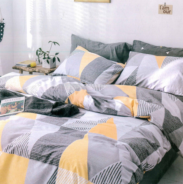 Malako Adore 100% Cotton Grey & Yellow Abstract Bedding Set