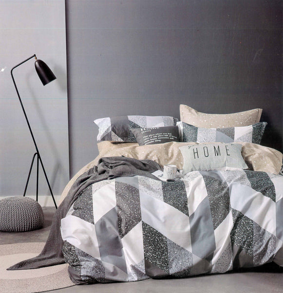 Malako Adore 100% Cotton Grey Geometrical Bedding Set