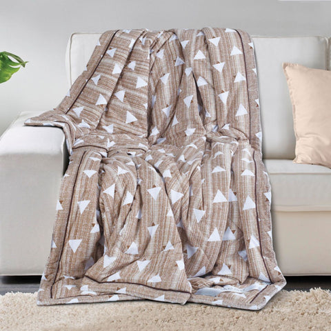 Malako AC Comforters Cotton + Polyester (120 gsm Polyfibre Filling) White & Brown Geometrical Comforter/Quilt