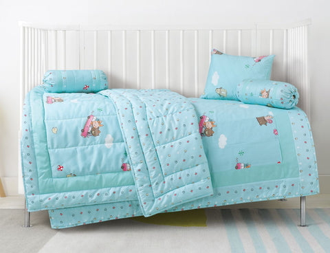 Malako Avene Fine Cotton Maya Blue 5 Piece Baby Bedding Set With Quilt