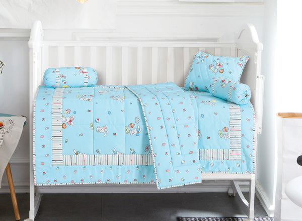 Malako Avene Fine Cotton Blue 5 Piece Baby Bedding Set With Quilt