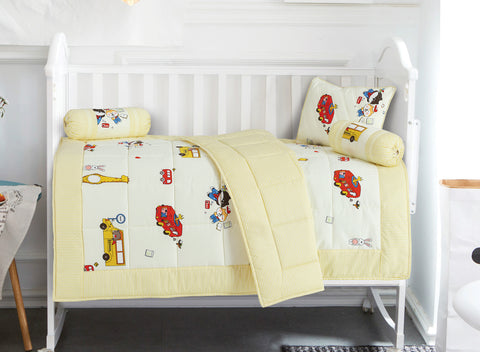 Malako Avene Fine Cotton Cream Yellow 5 Piece Baby Bedding Set With Quilt
