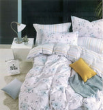 Malako Classic 100% Cotton White & Blue Botanic Bedding Set