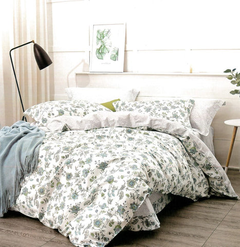 Malako Classic 100% Cotton Off White Botanic Bedding Set