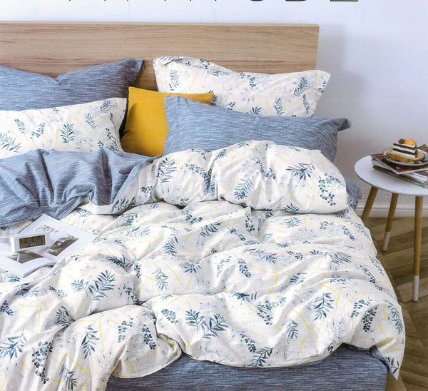 Malako Classic 100% Cotton Milky White Botanic 6 Piece Bedding Set