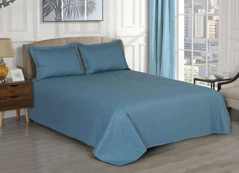 Malako 100% Cotton Coloured Jacquard Yale Blue 3 Piece Bed Sheet Set