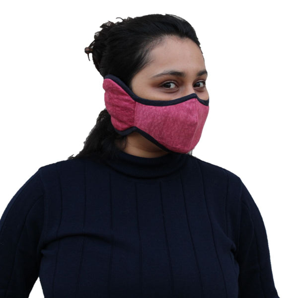 Malako Red Textured Solid 100% Cotton Ear Mask