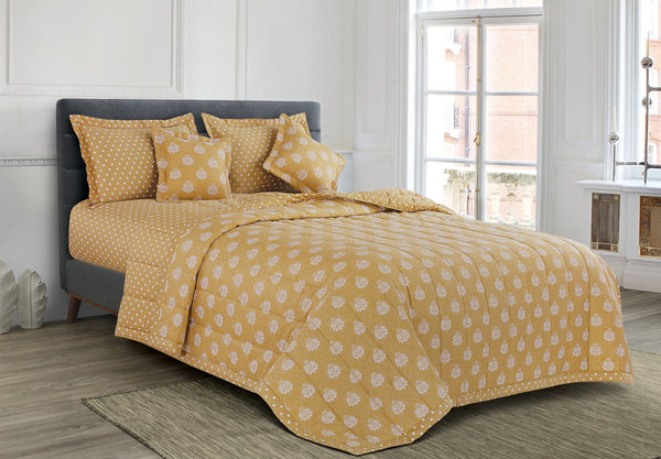 Malako Freesia 100% Cotton Royal Yellow Ethnic 6 Piece Bedding Set