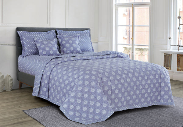 Malako Freesia 100% Cotton Pigeon Blue Ethnic 6 Piece Bedding Set