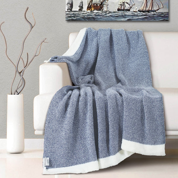 Malako Woolen Air Force Blue Abstract Knitted Throw