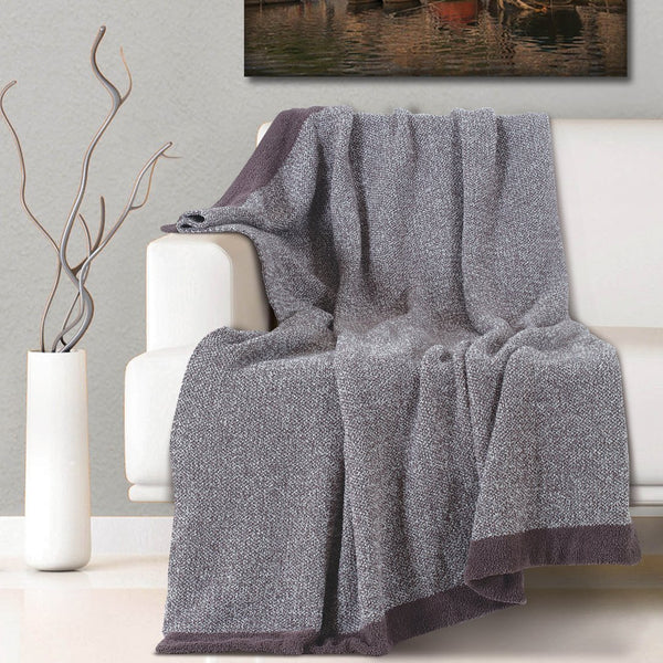 Malako Woolen Umber Brown Abstract Knitted Throw