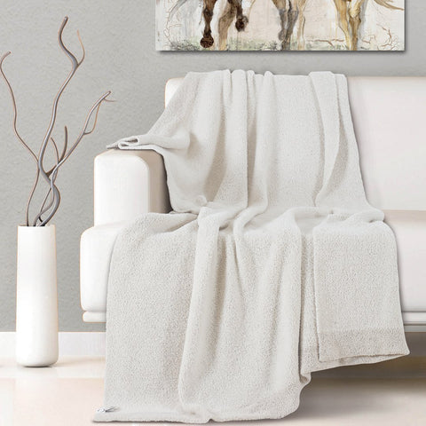 Malako Woolen Cream White Abstract Knitted Throw
