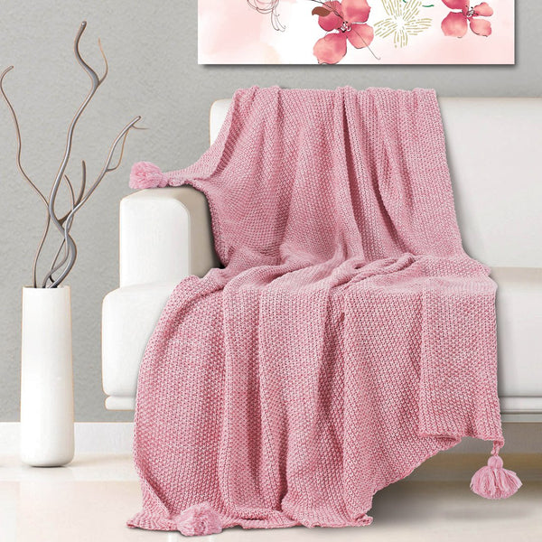 Malako Woolen Flamingo Pink Abstract Knitted Throw