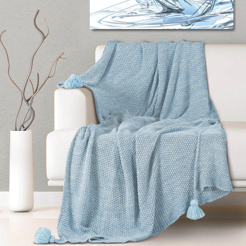 Malako Woolen Sky Blue Abstract Knitted Throw