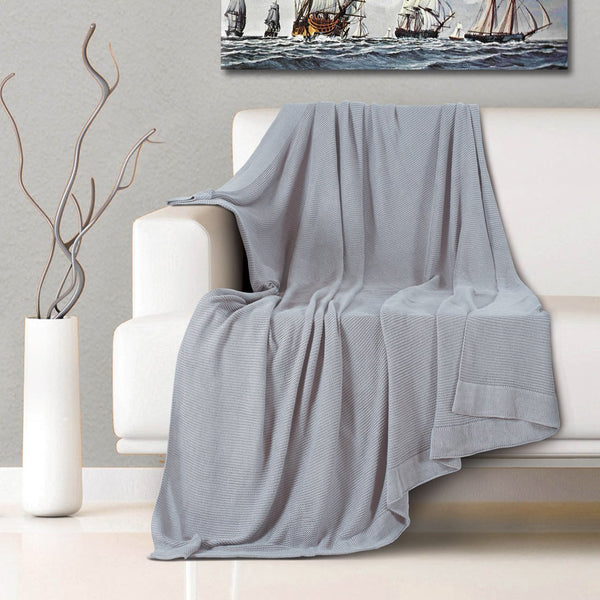 Malako Woolen Harbor Grey Solid Knitted Throw