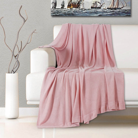 Malako Woolen Salmon Pink Solid Knitted Throw