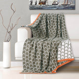 Malako Woolen Grey & White Geometrical Knitted Throw