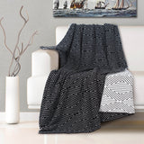 Malako Woolen Black & White Geometrical Knitted Throw