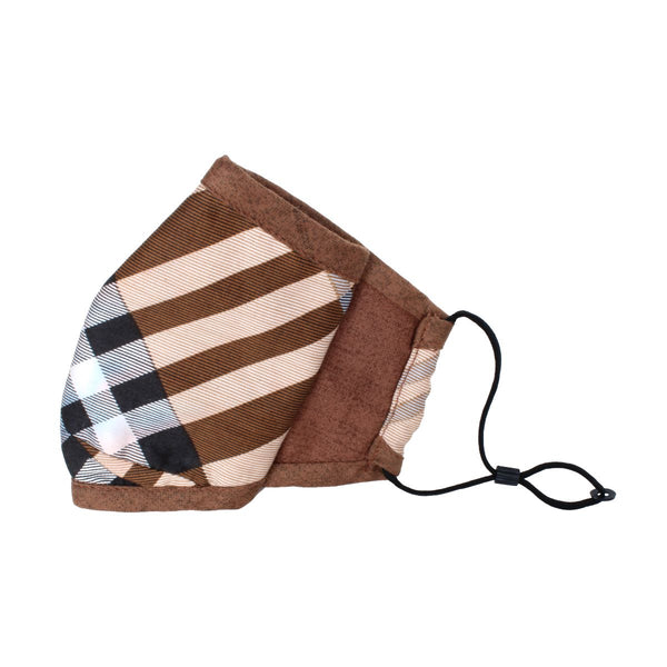 Malako Umber Brown Stripes 3 Layer Anti-Pollution Face Mask