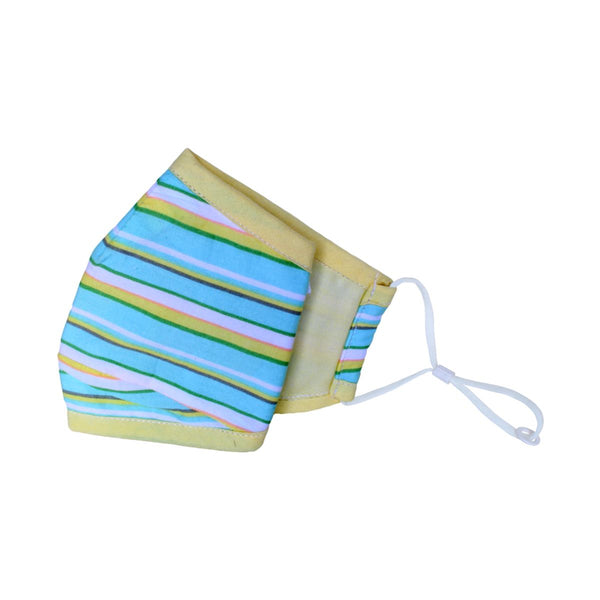Malako Green & Yellow Stripes 3 Layer Anti-Pollution Face Mask