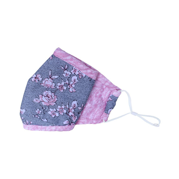 Malako Grey & Pink Floral 3 Layer Anti-Pollution Face Mask