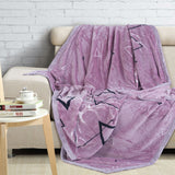Malako Printed Single Heavy Plush Rose Pink Geometrical Blanket