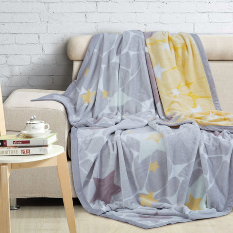 Malako Printed Single Heavy Plush Yellow and Grey Geometrical Blanket